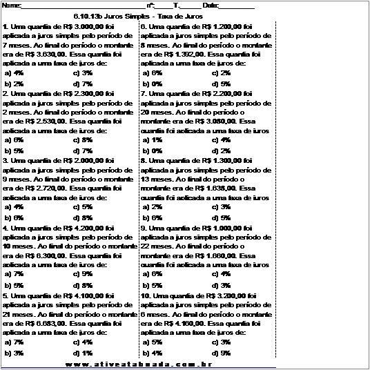 Atividade 6.10.13b Juros Simples - Taxa de Juros