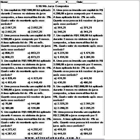 Atividade 6.10.14b Juros Compostos