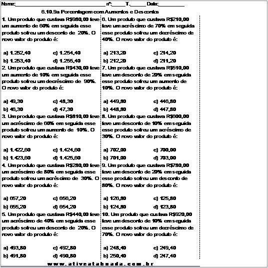 Atividade 6.10.9a Porcentagem com Aumentos e Descontos
