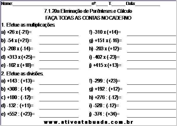 Atividade 7.1.20a Eliminação de Parênteses e Cálculo