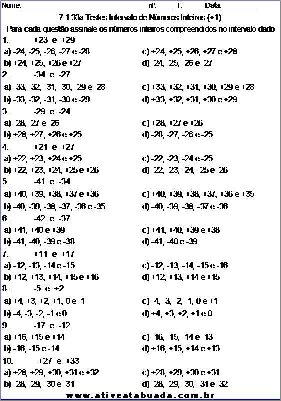 Atividade 7.1.33a Testes Intervalo de Números Inteiros (+1)