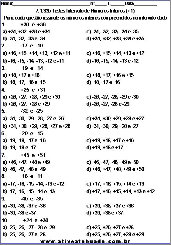Atividade 7.1.33b Testes Intervalo de Números Inteiros (+1)