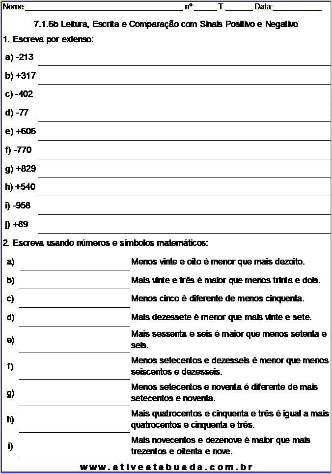Atividade 7.1.6b Leitura, Escrita e Comparação com Sinais Positivo e Negativo