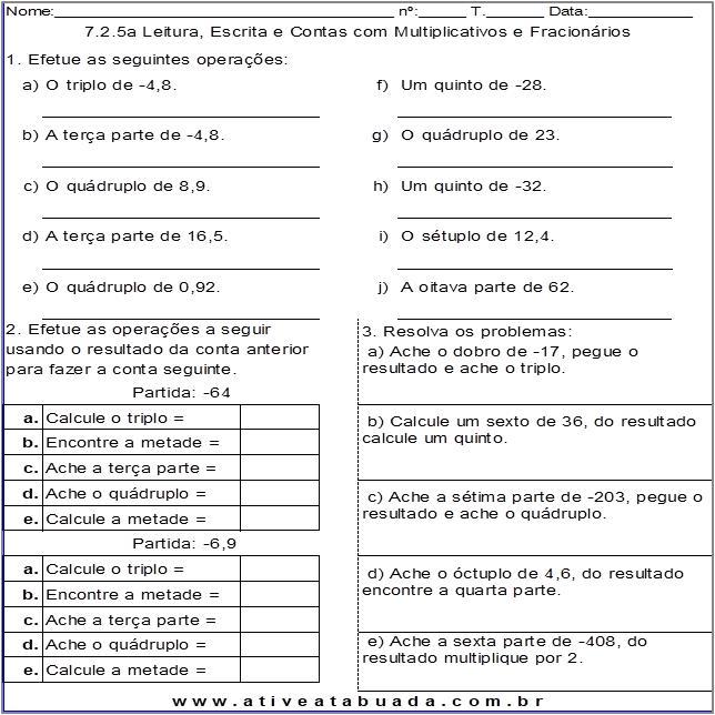 Atividade 7.2.5a Leitura, Escrita e Contas com Multiplicativos e Fracionários