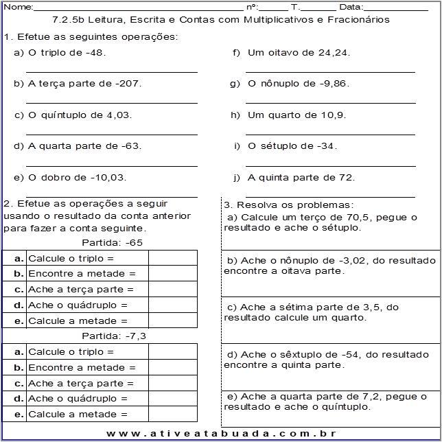 Atividade 7.2.5b Leitura, Escrita e Contas com Multiplicativos e Fracionários