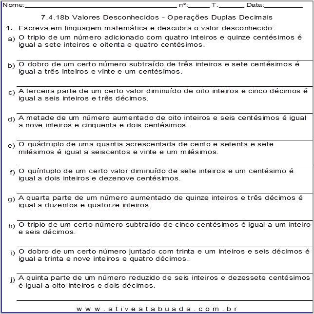 Atividade 7.4.18b Valores Desconhecidos - Operações Duplas Decimais
