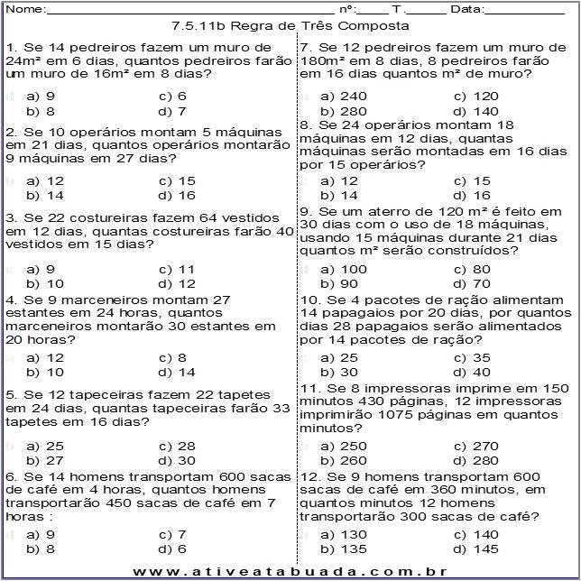 Atividade 7.5.11b Regra de Três Composta