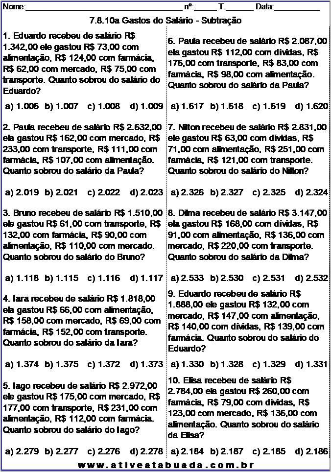 Atividade 7.8.10a Gastos do Salário - Subtração