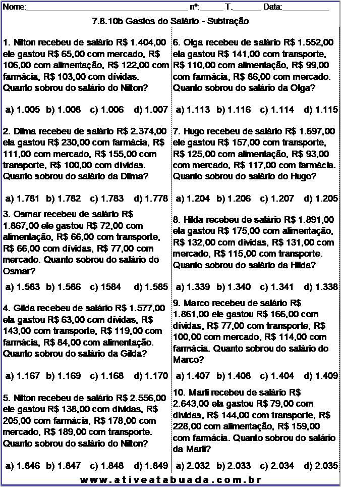 Atividade 7.8.10b Gastos do Salário - Subtração