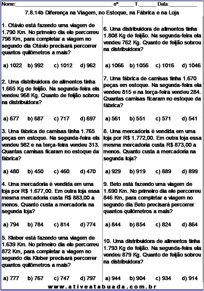 Atividade 7.8.14b Diferença na Viagem, no Estoque, na Fábrica e na Loja