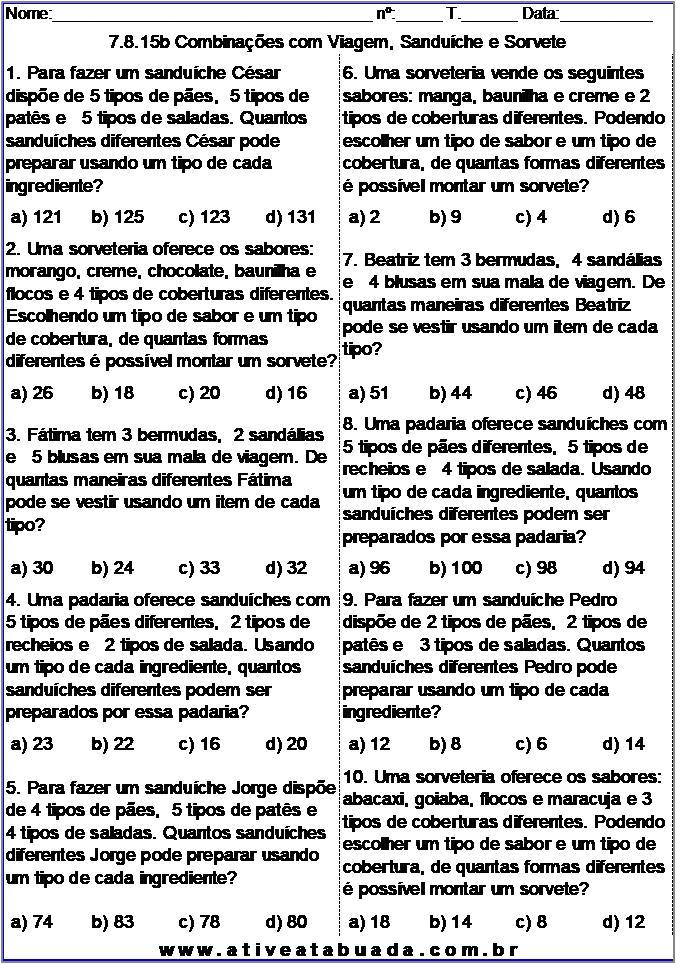 Atividade 7.8.15b Combinações com Viagem, Sanduíche e Sorvete