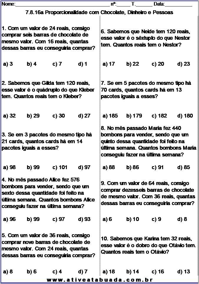 Atividade 7.8.16a Proporcionalidade com Chocolate, Dinheiro e Pessoas
