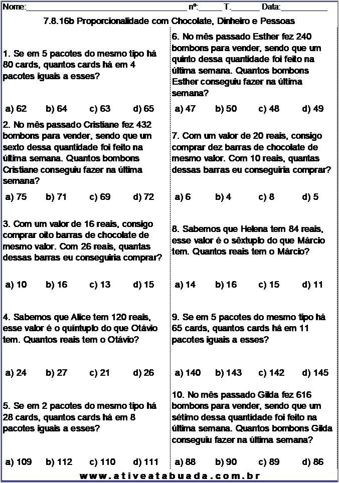 Atividade 7.8.16b Proporcionalidade com Chocolate, Dinheiro e Pessoas