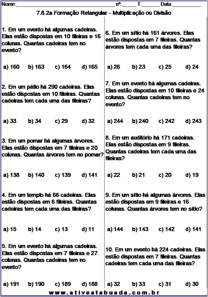 Atividade 7.8.2a Formação Retangular - Multiplicação ou Divisão