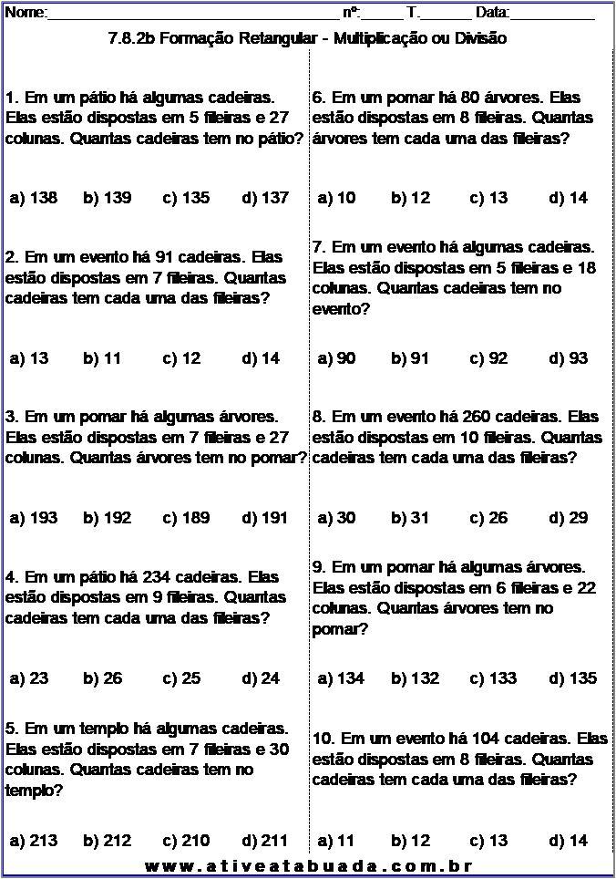 Atividade 7.8.2b Formação Retangular - Multiplicação ou Divisão