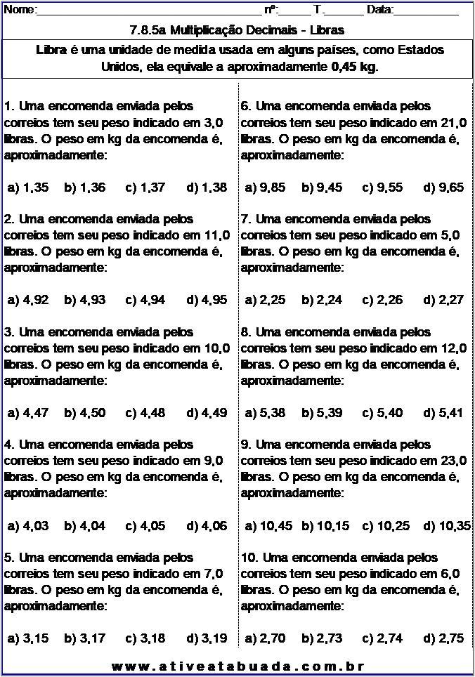 Atividade 7.8.5a Multiplicação Decimais - Libras