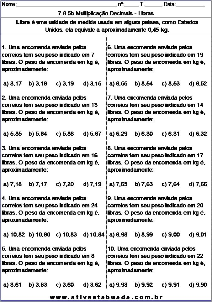 Atividade 7.8.5b Multiplicação Decimais - Libras