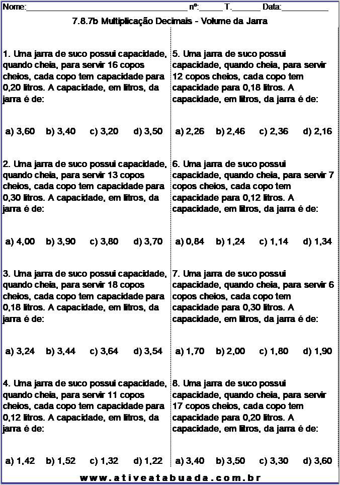 Atividade 7.8.7b Multiplicação Decimais - Volume da Jarra