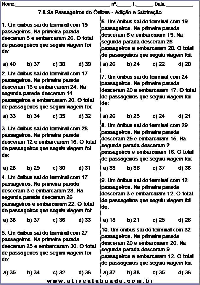 Atividade 7.8.9a Passageiros do Ônibus - Adição e Subtração