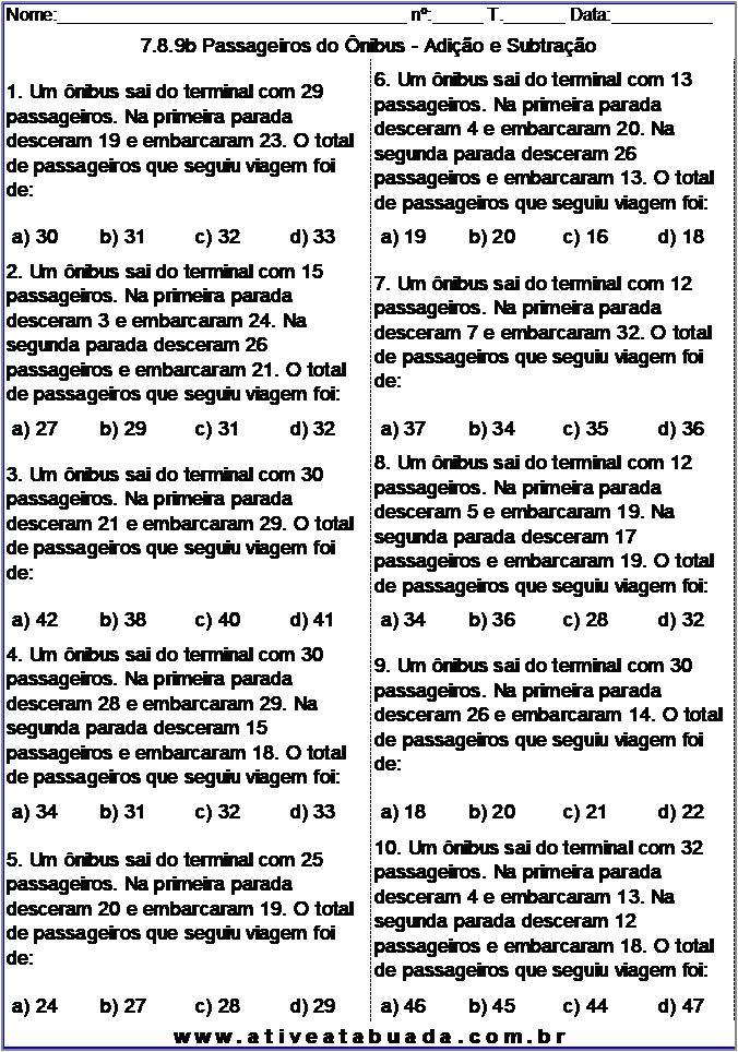 Atividade 7.8.9b Passageiros do Ônibus - Adição e Subtração