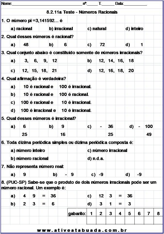 Atividade 8.2.11a Teste - Números Racionais