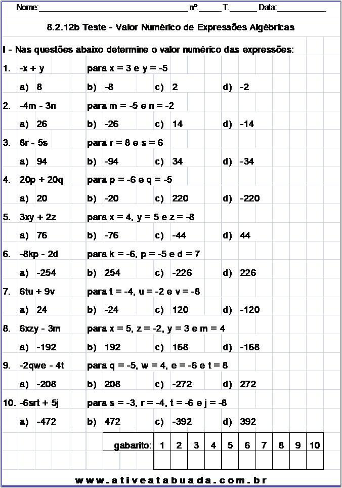Atividade 8.2.12b Teste - Valor Numérico de Expressões Algébricas