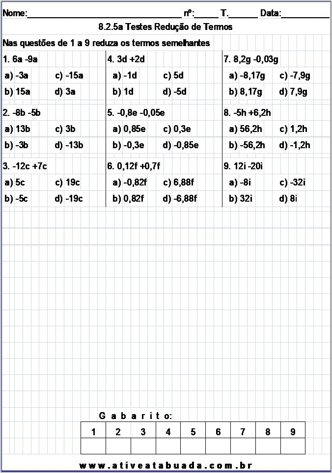 Atividade 8.2.5a Testes Redução de Termos