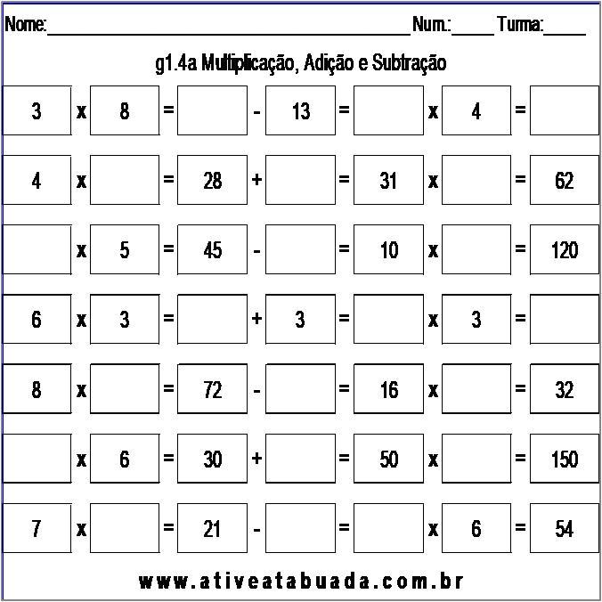 Atividade g1.4a Multiplicação, Adição e Subtração