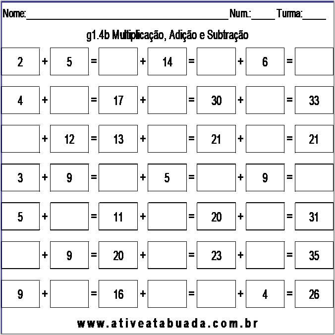 Atividade g1.4b Multiplicação, Adição e Subtração
