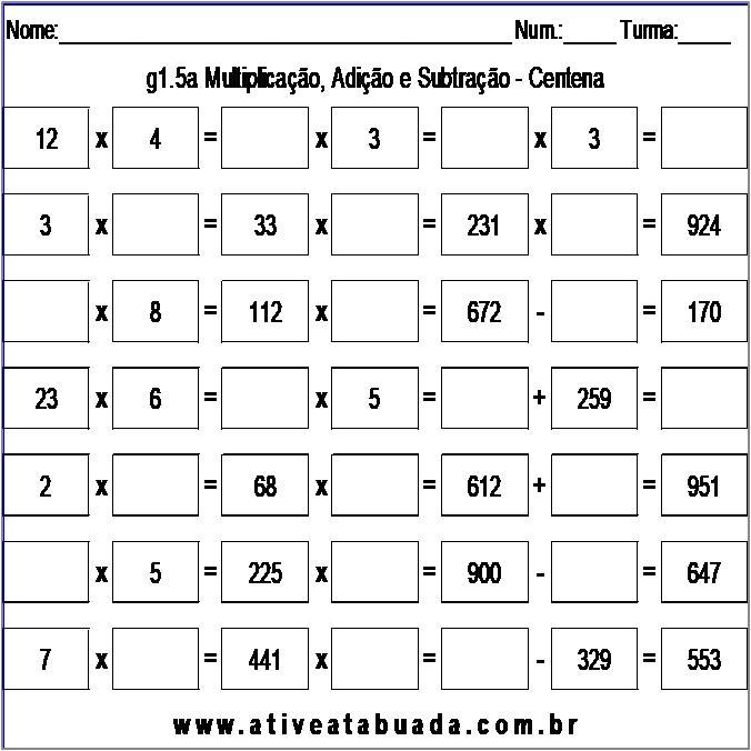 Atividade g1.5a Multiplicação, Adição e Subtração - Centena