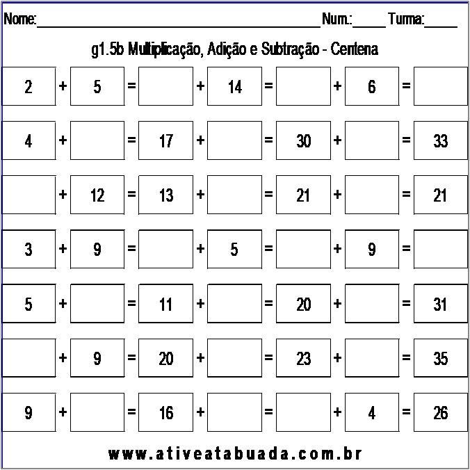 Atividade g1.5b Multiplicação, Adição e Subtração - Centena