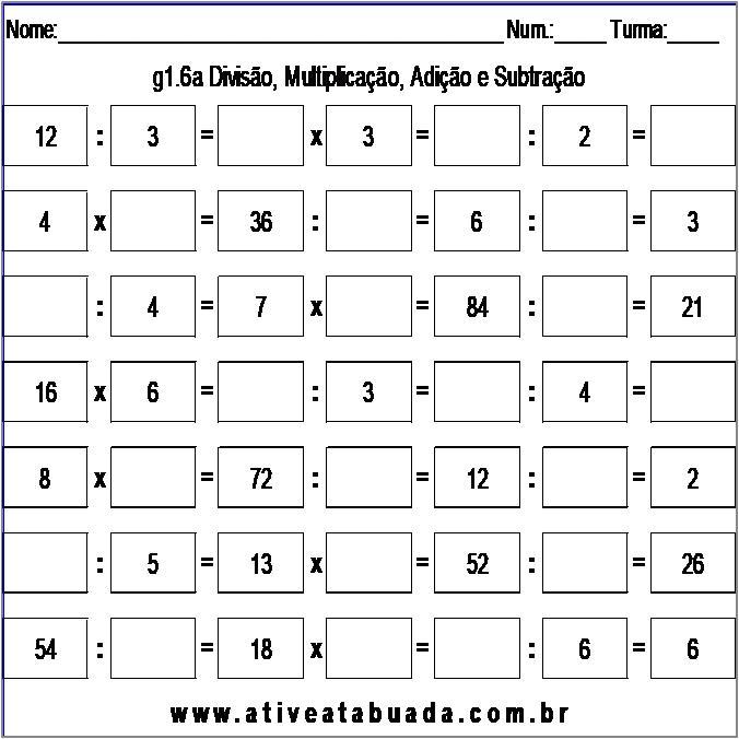 Atividade g1.6a Divisão, Multiplicação, Adição e Subtração