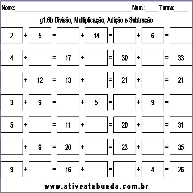 Atividade g1.6b Divisão, Multiplicação, Adição e Subtração