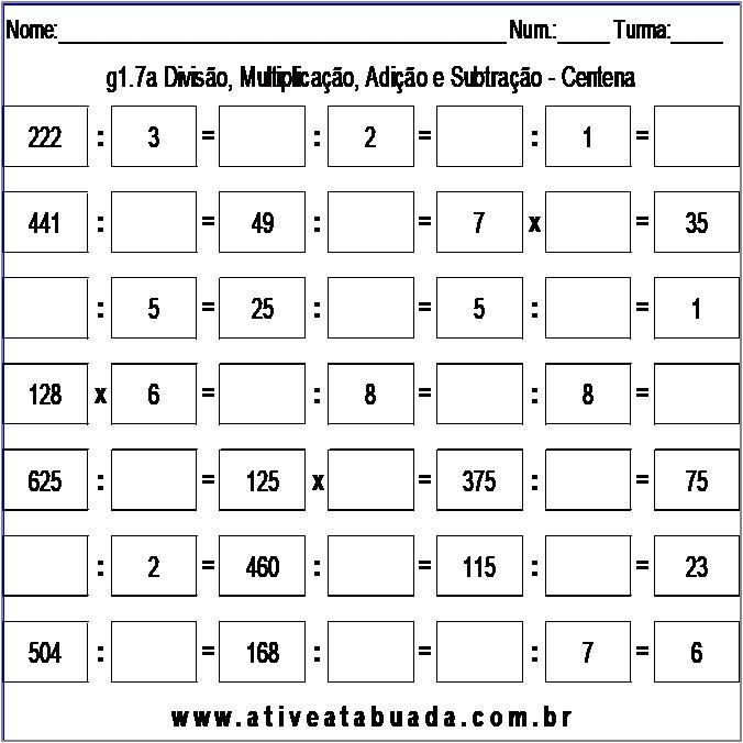 Atividade g1.7a Divisão, Multiplicação, Adição e Subtração - Centena