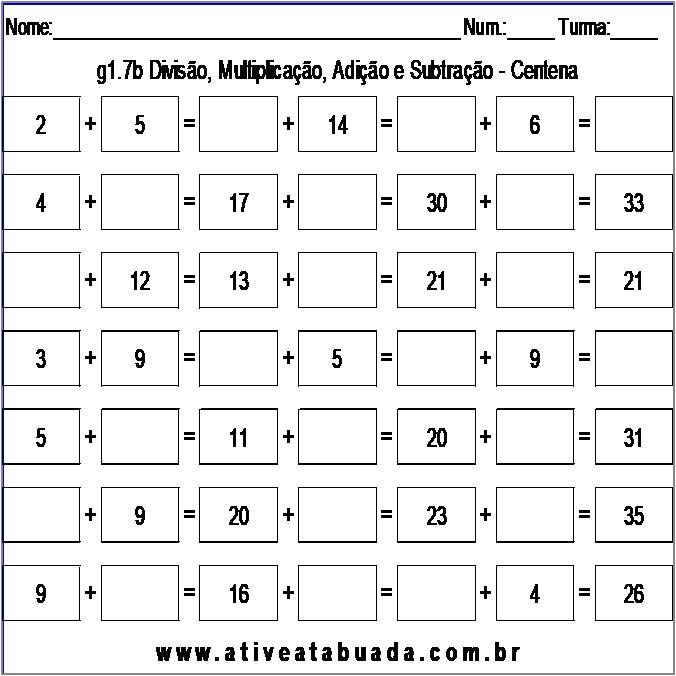 Atividade g1.7b Divisão, Multiplicação, Adição e Subtração - Centena
