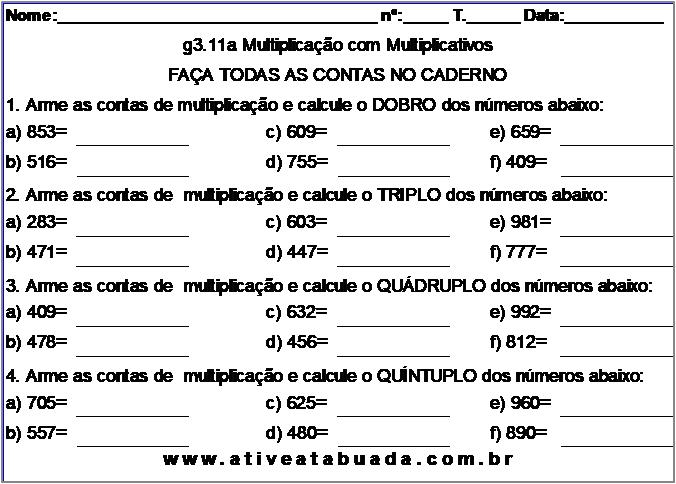 Atividade g3.11a Multiplicação com Multiplicativos