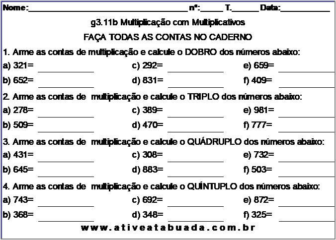 Atividade g3.11b Multiplicação com Multiplicativos
