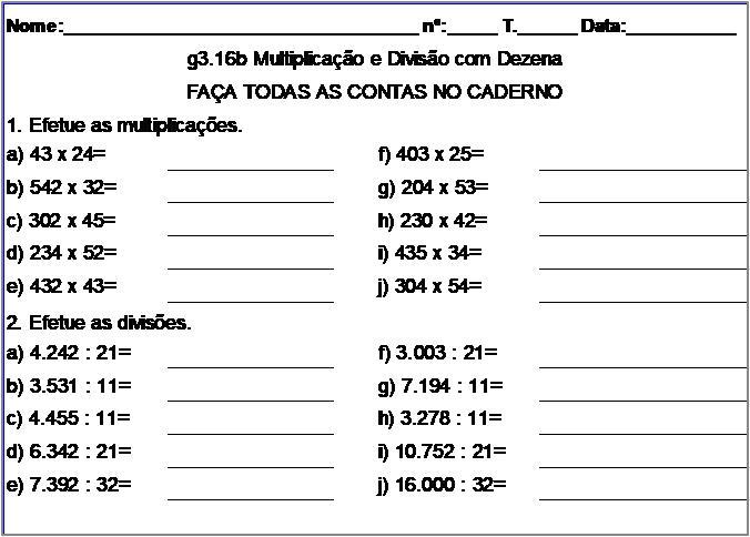 Atividade g3.16b Multiplicação e Divisão com Dezena