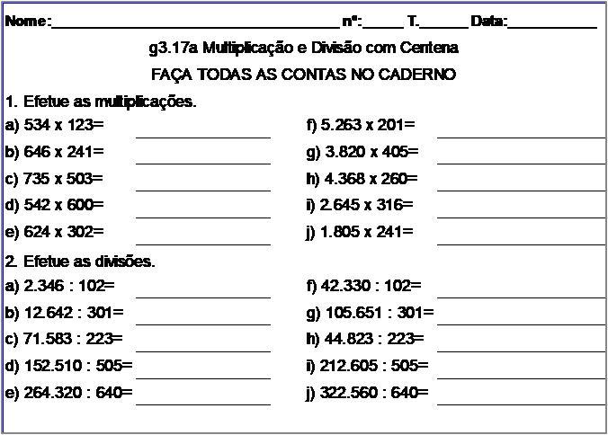 Atividade g3.17a Multiplicação e Divisão com Centena