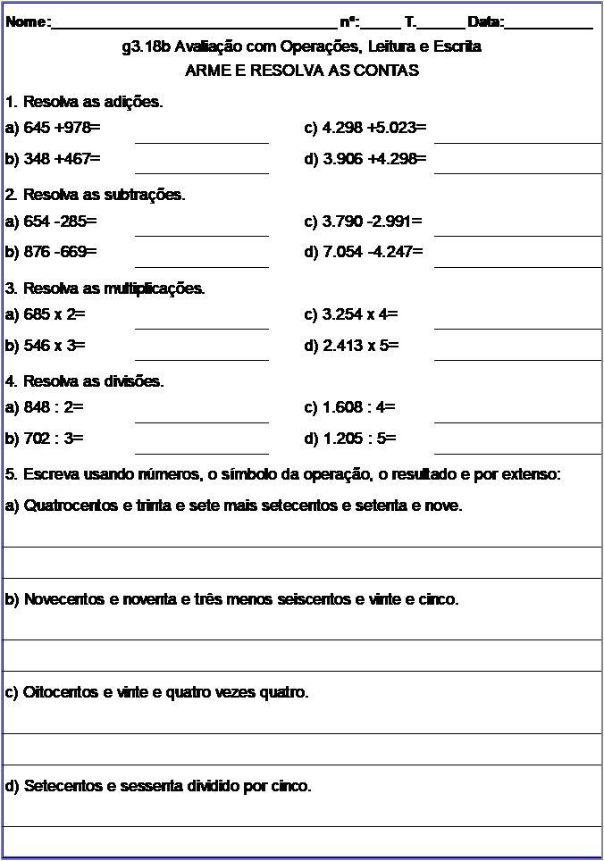 Atividade g3.18b Avaliação com Operações, Leitura e Escrita