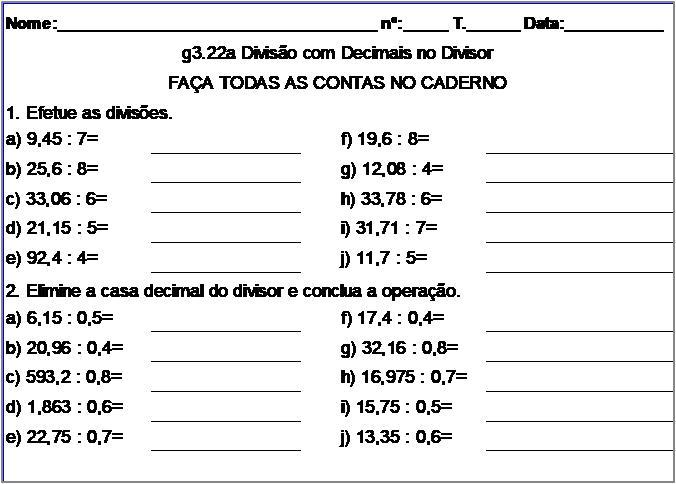 Atividade g3.22a Divisão com Decimais no Divisor