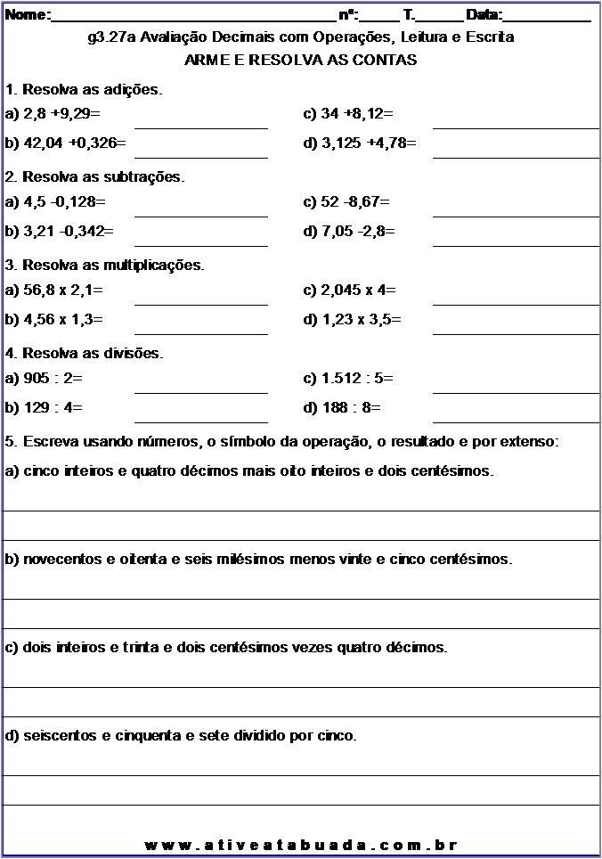 Atividade g3.27a Avaliação Decimais com Operações, Leitura e Escrita