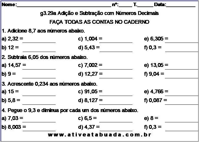 Atividade g3.29a Adição e Subtração com Números Decimais
