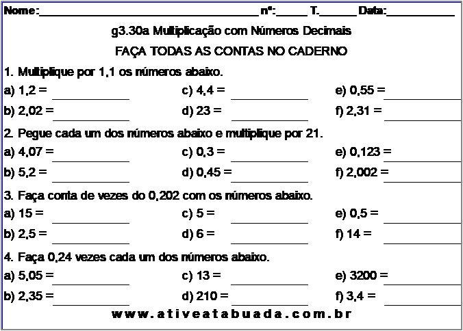 Atividade g3.30a Multiplicação com Números Decimais