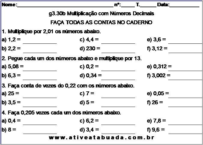 Atividade g3.30b Multiplicação com Números Decimais