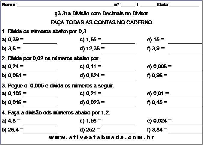 Atividade g3.31a Divisão com Decimais no Divisor