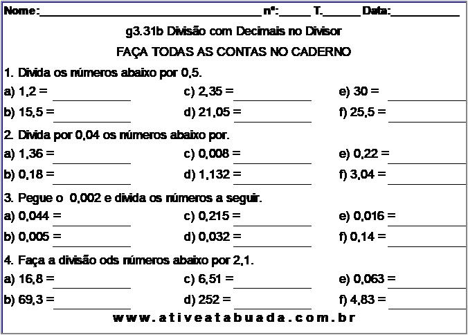 Atividade g3.31b Divisão com Decimais no Divisor