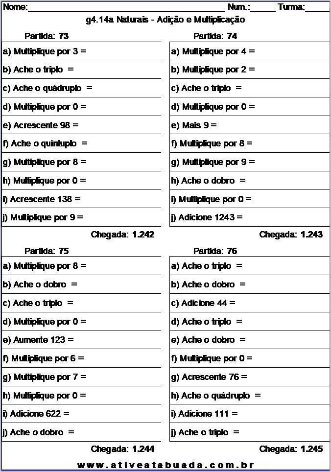 Atividade g4.14a Naturais - Adição e Multiplicação