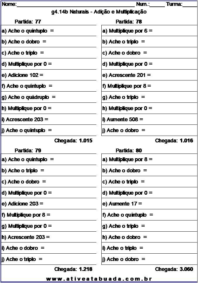 Atividade g4.14b Naturais - Adição e Multiplicação