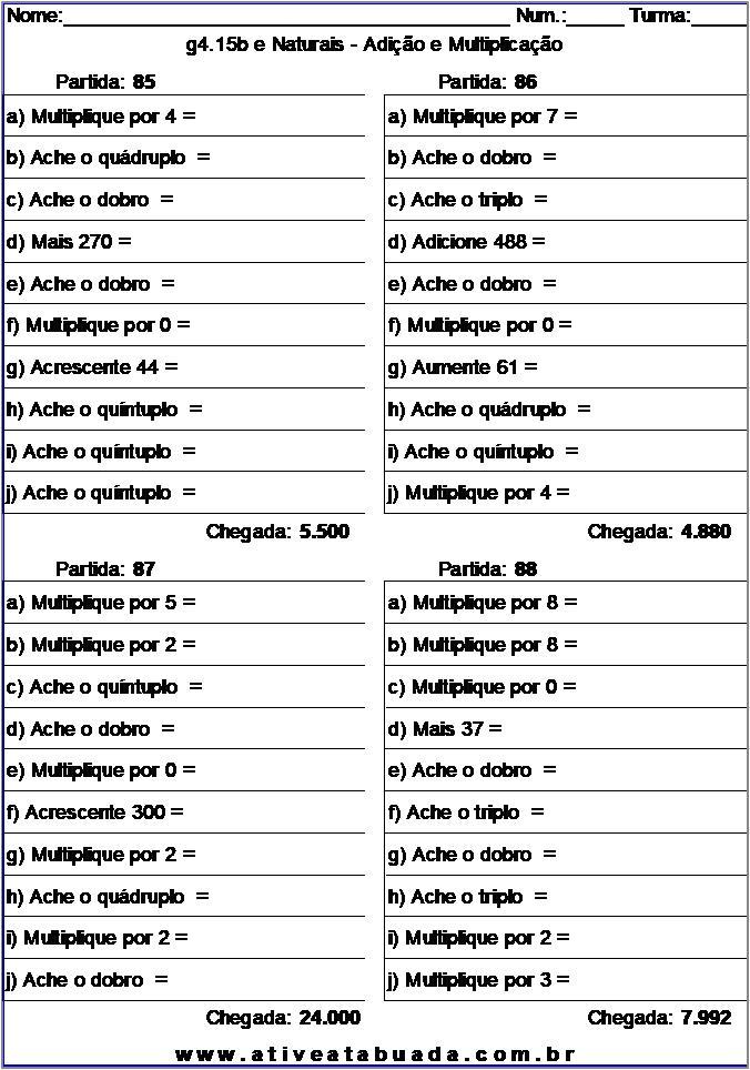Atividade g4.15b e Naturais - Adição e Multiplicação